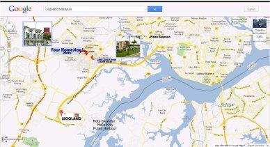 Peta map dari homestay legoland ke Plaza Angsana, Tampoi, Johor Bahru