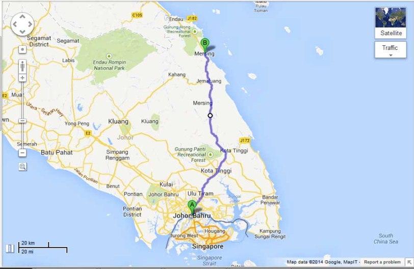 Air papan chalet to Johor  Bahru map