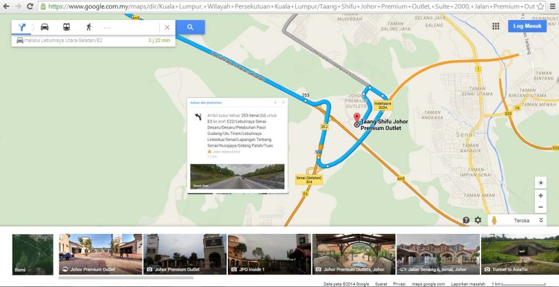 Kuala Lumpur to JPO Johor Premium Outlet Maps Homestay Legoland Johor Bahru